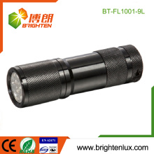 Factory Wholesale CE Rohs 3*AAA battery Used Pocket Good Quality EDC Emergency Aluminum 9 led Black Flashlight