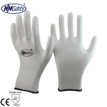 NMSAFETY pas cher blanc pu enduit des gants de travail de jardin de sécurité