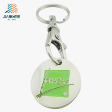 Hot Selling Soft Enamel Custom Logo Alloy Casting Trolley Token with Keychain