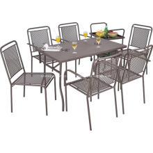 Conjunto de ferro ao ar livre, mobília 7pc jantar de compensação