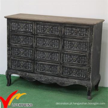 Commode Handmade Black Home Gabinete Vintage francês sala de móveis