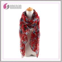 2016 элегантный филиалов и Совы печатные дамы вуаль шарф