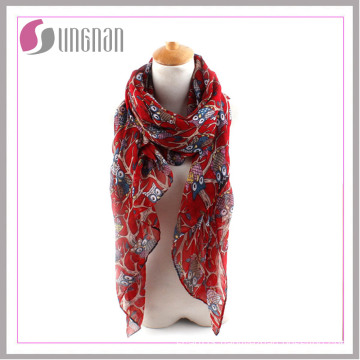 2016 Elegant Branches and Owls Printed Ladies Voile Scarf
