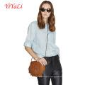 Women Fashion Linen Cotton Short Sleeve Shirt