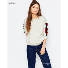 Strip Sleeve Cropped Fashion Sweatshirt