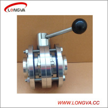 Sanitary Stainless Steel Three-Piece Butt Weld Butterfly Valve