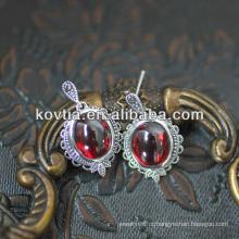 Encantadora jóia rubi moda brincos de prata granada