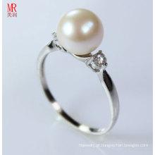 925 prata esterlina anel de casamento redondo pérola (ER1604)