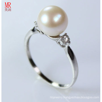 925 Sterling Silver Round Pearl Wedding Ring (ER1604)