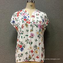 Viscose das mulheres impresso blusa de mangas curtas