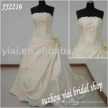 Einzigartige Ballart glänzendes ärmelloses Hochzeitskleid JJ2216