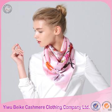 2017 diseño de encargo de la impresión digital de la venta de la fábrica imprimió la bufanda de seda cuadrada