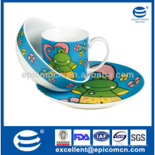 High quality children daily use 3pcs porcelain breakfast dinner set with cartoon decoration