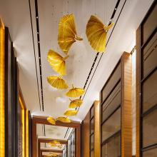 Art custom leaf shape amber crystal pendant light