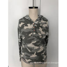 Camo button hoodie sweater