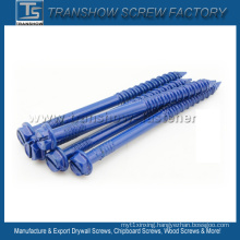 Blue Ruspert Coating Slotted Hex Washer Head Concrete Screws