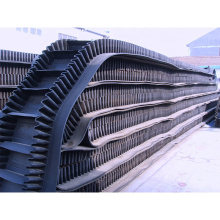 China Large Dip Angle Skirt Side Wall Rubber Conveyor Belt For Construction