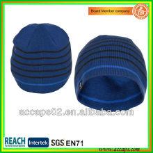 Moda azul beanie com seu patch wovel BN-2043