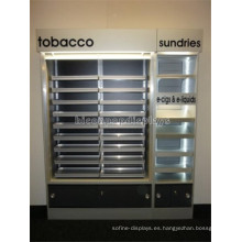 El gabinete de visualización llevado grande de la iluminación de la tienda al por menor con el cajón, estante comercial de los cigarrillos de la exhibición para la venta