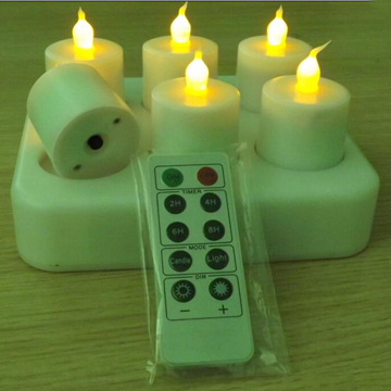 Remoted flickering LED tealight candle
