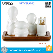 Cool Monk-Like Ceramic Shakers and Toothpick Holder Tool Set
