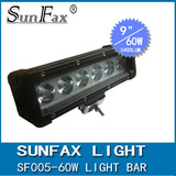 Hot sale 12v 9inch 60W Single row C REE straight led light bar, led driving light for offroad car , truck , suv