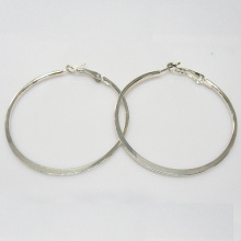 Hot selling silver plain metal hoop earrings, round shaped, 52mm in outer diameter, rhodium plating, fashion jewelry wholesaler