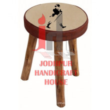 Round Canvas Leather Stool