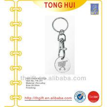 Engraved supermarket coin holder keychain/keyrings metal
