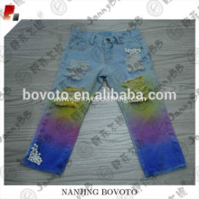 new fashion girls rainbow tye die jeans