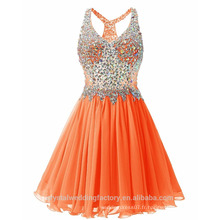 Real Photo Puffy Sexy Layered Heavy Crystals Orange Robe de cocktail courte MC2568