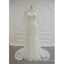 Mais recente moda vestido de noiva de manga curta vestido de noiva sereia 2017