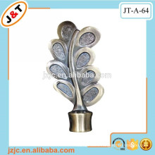 curved retractable wrought iron curtain rod leaf finials