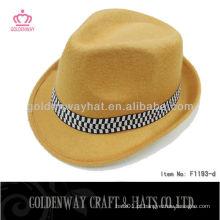 Amarelo PP poliéster personalizado design promocional chapéu de fedora mais barato