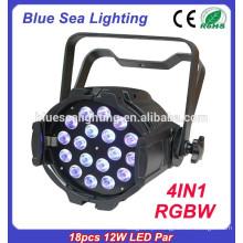 Indoor 18pcs 12w levou luz RGBW 4in1