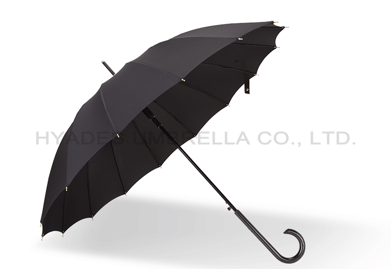 Windproof 55cm 16ribs Auto Open Womens Straight Umbrella