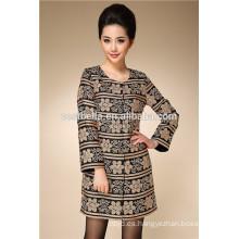 Bordado OEM de alta calidad de moda de diseño de las mujeres de largo trench coat dama trech abrigo