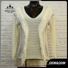 Suéter de punto blanco con cuello en v para mujer