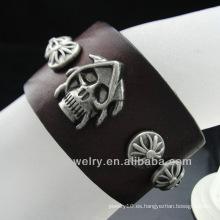 Pulsera del cuero genuino del precio de fábrica Pulsera de los hombres únicos de la pulsera caliente vendedora del cráneo BGL-012
