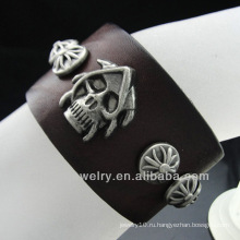 Браслет неподдельной кожи цены по прейскуранту завода-изготовителя Горячий продавая браслет уникально людей браслета черепа BGL-012