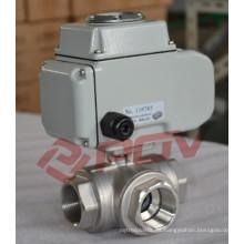 Válvula de bola del motor eléctrico de 3 vías rosca dn25