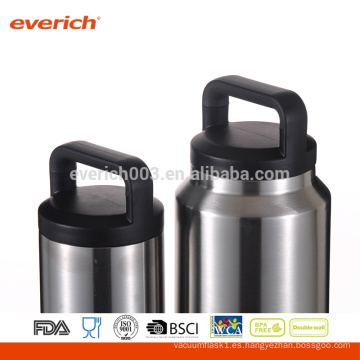 Botella de agua de acero inoxidable de 64 oz con tapa de prueba de fugas de bloqueo