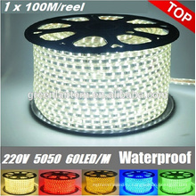Высоковольтный напольный SMD 5050 100 м/рулон светодиодные полосы света 220-240В