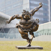 Life size outdoor decoration bronze fat women sculpture
