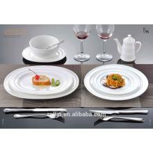 2016 Hot sale hotel & restaurant lave-vaisselle ronde blanche, lave-vaisselle en porcelaine, assiettes en gros