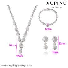 S-34 Xuping Chinesische Benutzerdefinierte Schwere Braut Silber farbe Halskette schmuck Sets Phantasie Lange Kette Weiß Stein Halskette Set