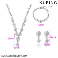 S-34 Xuping Chinese Custom Heavy Bridal Silver color Necklace jewelry Sets Fancy Long Chain White Stone Necklace Set