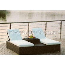 Double Folding Sun Lounger Chairs Bed With Table