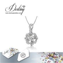 Destino joias cristal de Swarovski colar pingente de flor nova