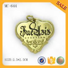 Placa de metal dorado MC644 con logo grabado personalizado